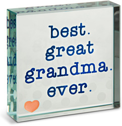 "Great Grandma by Mom Love - 3"" x 3"" Glass Plaque"