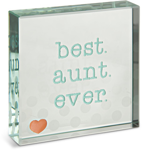 "Best Aunt by Mom Love - 3"" x 3"" Glass Plaque"