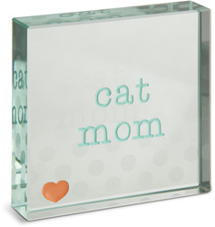 "Cat Mom by Mom Love - 3"" x 3"" Glass Plaque"