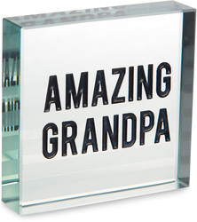 "Grandpa by Man Made - 3"" x 3"" Glass Plaque"