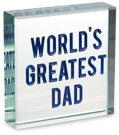 "World's Greatest Dad by Man Made - 3"" x 3"" Glass Plaque"