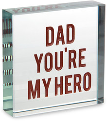 "Hero Dad by Man Made - 3"" x 3"" Glass Plaque"