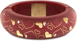 Pink Heart by H2Z - Bangle Bracelets and Earrings - Resin Bangle Bracelet with Red, Gold designs and Clear Crystals