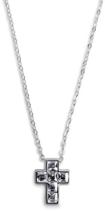 "Nina Crystal by H2Z Made with Swarovski Elements - 16""-18"" Necklace with 0.5"" Crystal Cross  made from Swarovski Elements"