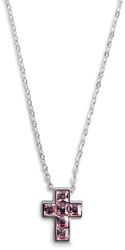 "Nina Light Rose by H2Z Made with Swarovski Elements - 16""-18"" Necklace with 0.5"" Swarovski Crystal Cross"