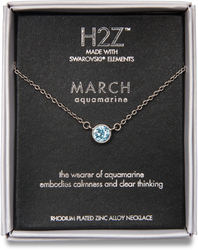 "Liza Birthstone March Aquamarine by H2Z Made with Swarovski Elements - 17""-18.5"" Necklace with 0.25"" Swarovski Crystal Pendant"
