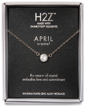 "Liza Birthstone April Crystal by H2Z Made with Swarovski Elements - 17""-18.5"" Necklace with 0.25"" Swarovski Crystal Pendant"