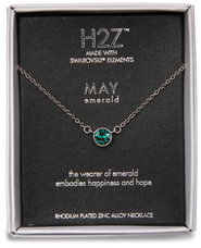 "Liza Birthstone May Emerald by H2Z Made with Swarovski Elements - 17""-18.5"" Necklace with 0.25"" Swarovski Crystal Pendant"