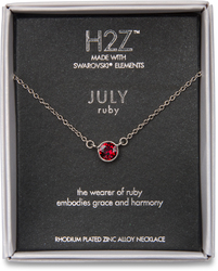 "Liza Birthstone July Ruby by H2Z Made with Swarovski Elements - 17""-18.5"" Necklace with 0.25"" Swarovski Crystal Pendant"