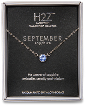 "Liza Birthstone September Sapphire by H2Z Made with Swarovski Elements - 17""-18.5"" Necklace with 0.25"" Swarovski Crystal Pendant"