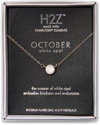 "Liza Birthstone October White Opal by H2Z Made with Swarovski Elements - 17""-18.5"" Necklace with 0.25"" Swarovski Crystal Pendant"