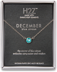 "Liza Birthstone December Blue Zircon by H2Z Made with Swarovski Elements - 17""-18.5"" Necklace with 0.25"" Swarovski Crystal Pendant"