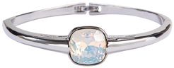"Isabel White Opal by H2Z Made with Swarovski Elements - 2.125"" Swarovski Crystal Bangle Bracelet"