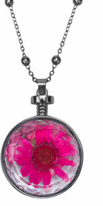 "Pink Gerber  by H2Z Petal Pendants - 31"" - 34.5"" Sweater Necklace with Glass Pendant"