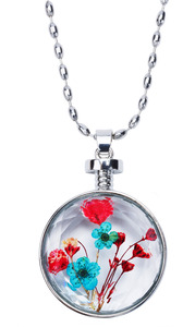 "Botanical Blue by H2Z Petal Pendants - 31"" - 34.5"" Sweater Necklace with Glass Pendant"