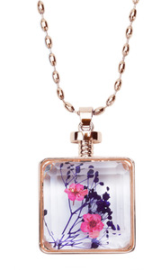 "Vibrant Violet by H2Z Petal Pendants - 31"" - 34.5"" Sweater Necklace with Glass Pendant"