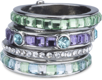 Seascape  by H2Z Radiant Rings - Size 6 Ring with 5 Stacked Crystal Layers