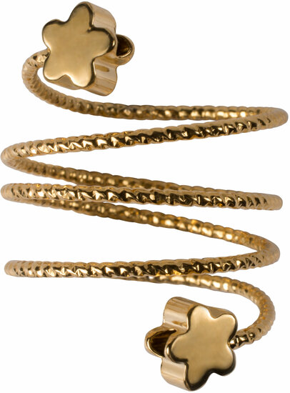 3 Coil Flowers by H2Z Spiral Rings - 3 Coil Flowers - Gold Spiral Adjustable Ring