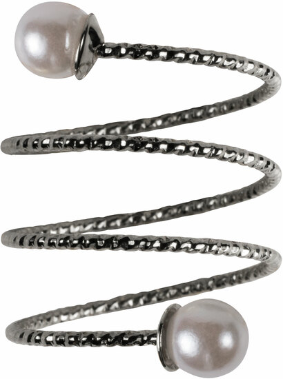 2 Coil Pearls by H2Z Spiral Rings - 2 Coil Pearls - Rhodium Spiral Adjustable Ring