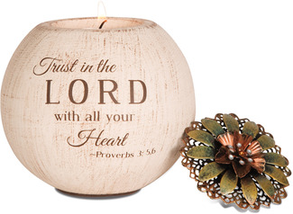 "Trust in the Lord by Light Your Way - 4"" Round Tea Light Candle Holder"
