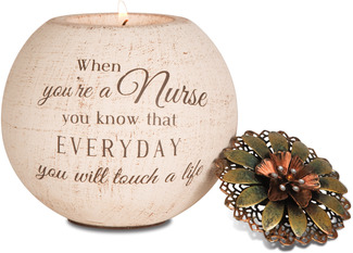 "Nurse by Light Your Way - 4"" Round Tea Light Candle Holder"