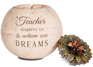 "Teacher by Light Your Way - 4"" Round Tea Light Candle Holder"