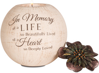 "In Memory by Light Your Way - 5"" Round Tea Light Candle Holder"