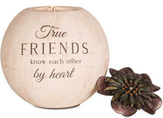 "True Friends by Light Your Way - 5"" Round Tea Light Candle Holder"
