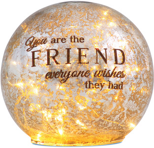"Friend by Light Your Way - 4.5"" LED Lit Glass Lantern"
