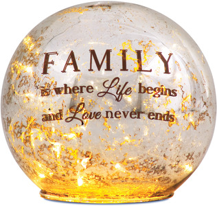 "Family by Light Your Way - 4.5"" LED Lit Glass Lantern"