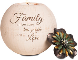 "Family by Light Your Way - 5"" Round Tea Light Candle Holder"