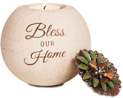 "Bless Our Home by Light Your Way - 4"" Round Candle Holder"