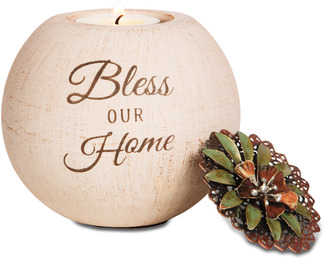 "Bless Our Home by Light Your Way - 4"" Round Tea Light Candle Holder"