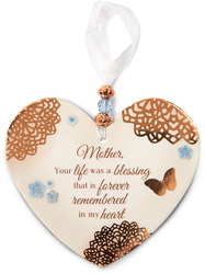 "Remembering Mother by Light Your Way Memorial - 3.5"" x 4"" Heart-Shaped Ornament"