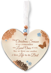 "Remembering at Christmas by Light Your Way Memorial - 3.5"" x 4"" Heart-Shaped Ornament"