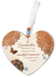 "Memories of Grandmother by Light Your Way Memorial - 3.5"" x 4"" Heart-Shaped Ornament"