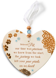 "Beloved Pet by Light Your Way Memorial - 3.5"" x 4"" Heart-Shaped Ornament"