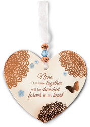 "Cherished Nana by Light Your Way Memorial - 3.5"" x 4"" Heart-Shaped Ornament"