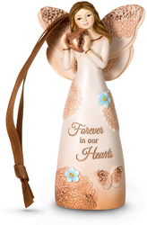 "Forever in our Hearts by Light Your Way Memorial - 4.5"" Angel Ornament Holding Heart"