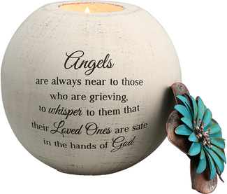 "Angels are Near by Light Your Way Memorial - 5"" Round Tea Light Candle Holder"