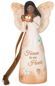 "EBN Forever in our Hearts by Light Your Way Memorial - 4.5"" Ebony Angel Ornament"