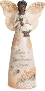 "Grandmother by Light Your Way Every Day - 7.5"" Ebony Angel Holding Basket of Flowers"