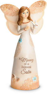 "Beloved Sister by Light Your Way Memorial - 5.5"" Angel Holding Dove"