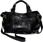 Anissa Black by H2Z Metallic Leather Bag -