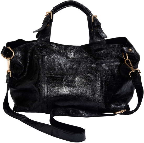 "Anissa Black by H2Z Metallic Leather Bag - Anissa Black - 14"" x 9.5"" Metallic Leather Purse/Handbag"