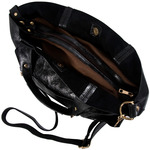 Anissa Black by H2Z Metallic Leather Bag - Interior