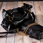 Anissa Black by H2Z Metallic Leather Bag - Scene
