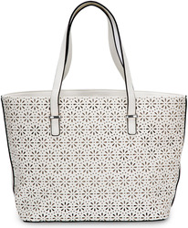 "Alex Tote in White by H2Z Laser Cut Handbags - 11"" x 17"" x 6"" Laser Cut Handbag"