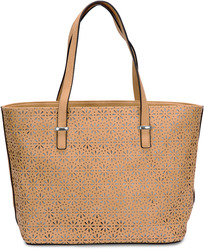 "Alex Tote in Tan by H2Z Laser Cut Handbags - 11"" x 17"" x 6"" Laser Cut Handbag"