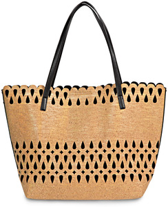 "Susan Black by H2Z Laser Cut Handbags - 19"" x 7"" x 13"" Cork Purse/Tote"